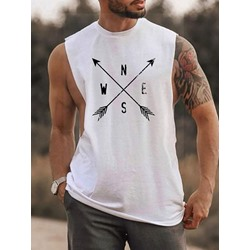 Print Round Neck Casual Sleeveless Pullover T-shirt