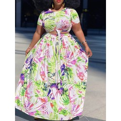 Skirt Print Floral Pullover Women's Two Piece Sets