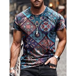 Casual Print Round Neck Pullover T-shirt
