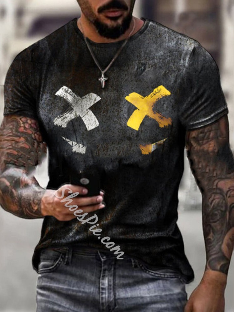 Casual Round Neck Print Short Sleeve Loose T-shirt