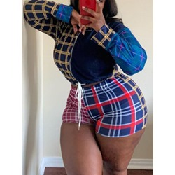 Shorts Plaid Western Women's Two Piece Sets