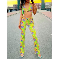 Pants Floral Sexy Women's Two Piece Sets