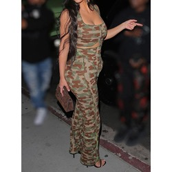 Vest Fashion Camouflage Straight Women's Two Piece Sets