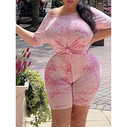 Plus Size Shorts Casual Print Pullover Women's Two Piece Sets