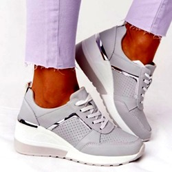 Shoespie Stylish Cross Strap Lace-Up Round Toe Wedge Heel Sneakers