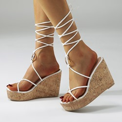 Shoespie Sexy Wedge Heel Open Toe Lace-Up Plain Sandals