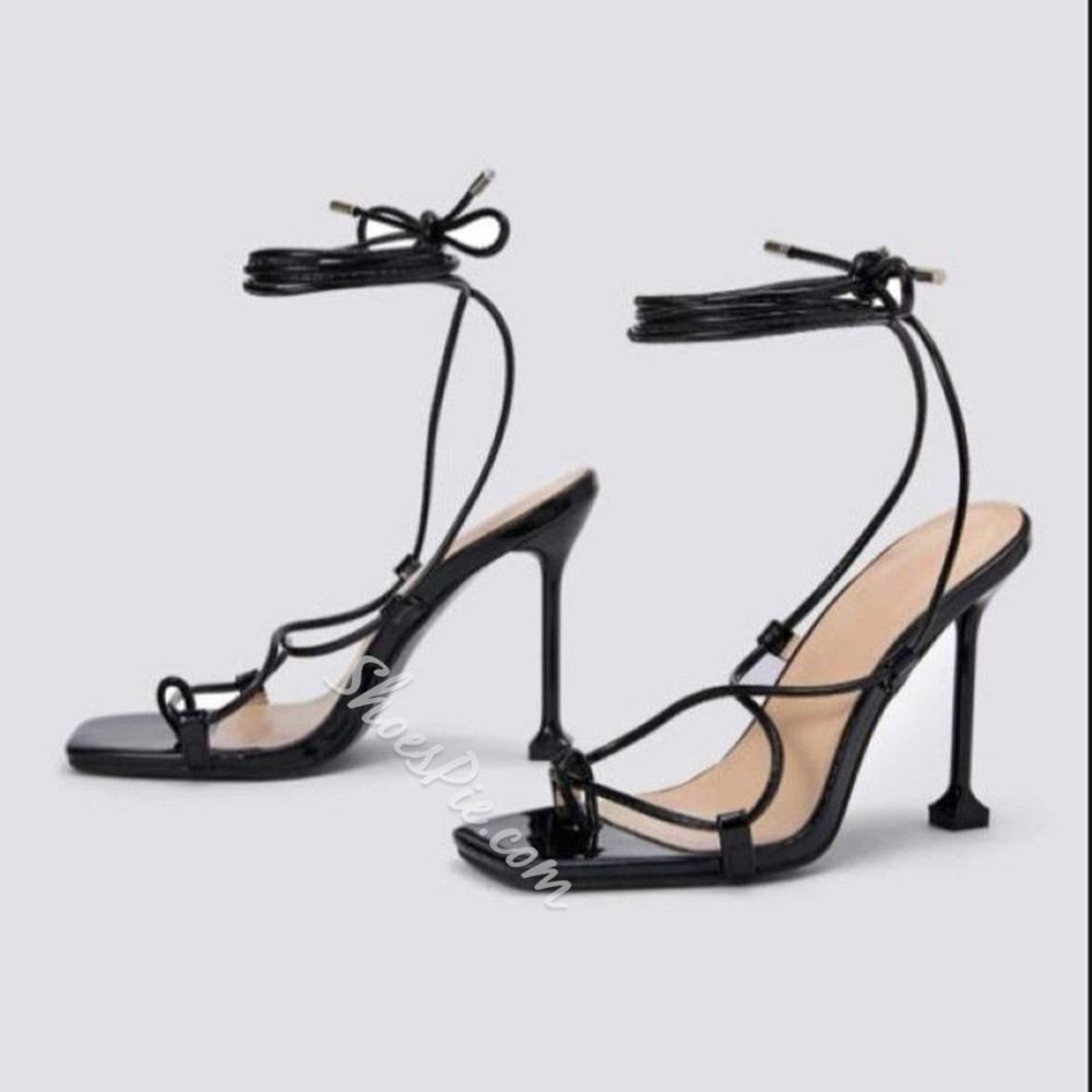 Shoespie Sexy Stiletto Heel Thong Lace-Up Western Sandals