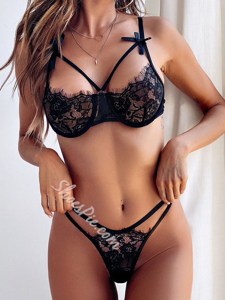 Three-Point Lace Polyester Sexy Bra Sets