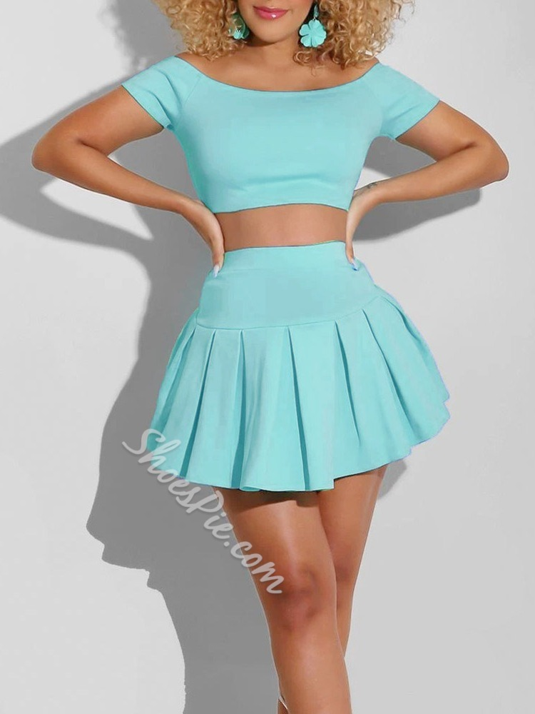 Plain Sexy T-Shirt Pullover Women's Two Piece Sets