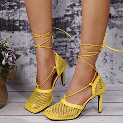 Shoespie Sexy Square Toe Hollow Lace-Up Professional Thin Shoes