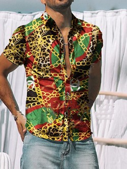 Print Lapel Casual Single-Breasted Gold Chain Slim Shirt