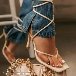 Shoespie Sexy Stiletto Heel Thong Lace-Up Lace-Up Sandals