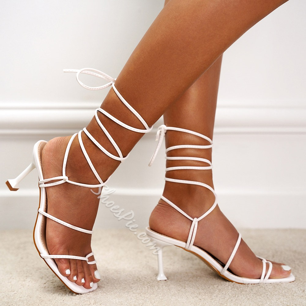 Shoespie Sexy Stiletto Heel Thong Lace-Up Sandals