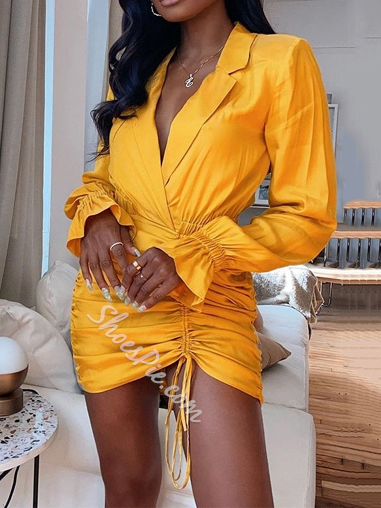 Notched Lapel Pleated Long Sleeve Bodycon Women's Dress