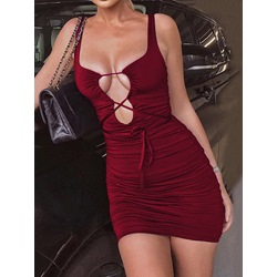 Sleeveless Above Knee Lace-Up Bodycon Women's Dress