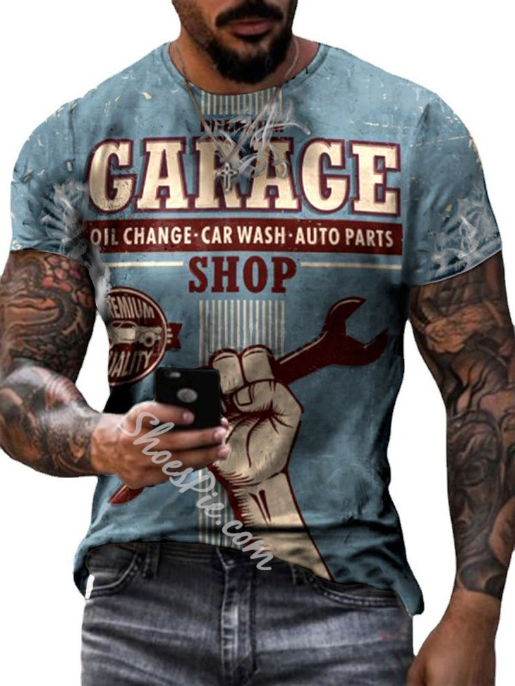 Casual Round Pullover Neck Print Short Sleeve Slim T-shirt