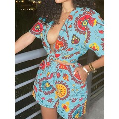 Casual Shorts Print Women's Two Piece Sets