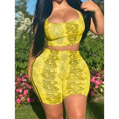Office Lady Shorts Print Pullover Women's Two Piece Sets