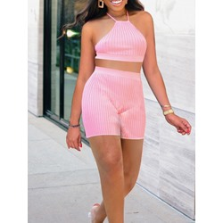 Sexy Plain Shorts Pullover Women's Two Piece Sets