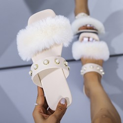 Shoespie Trendy Flat With Flip Flop Slip-On Casual Fur Slippers