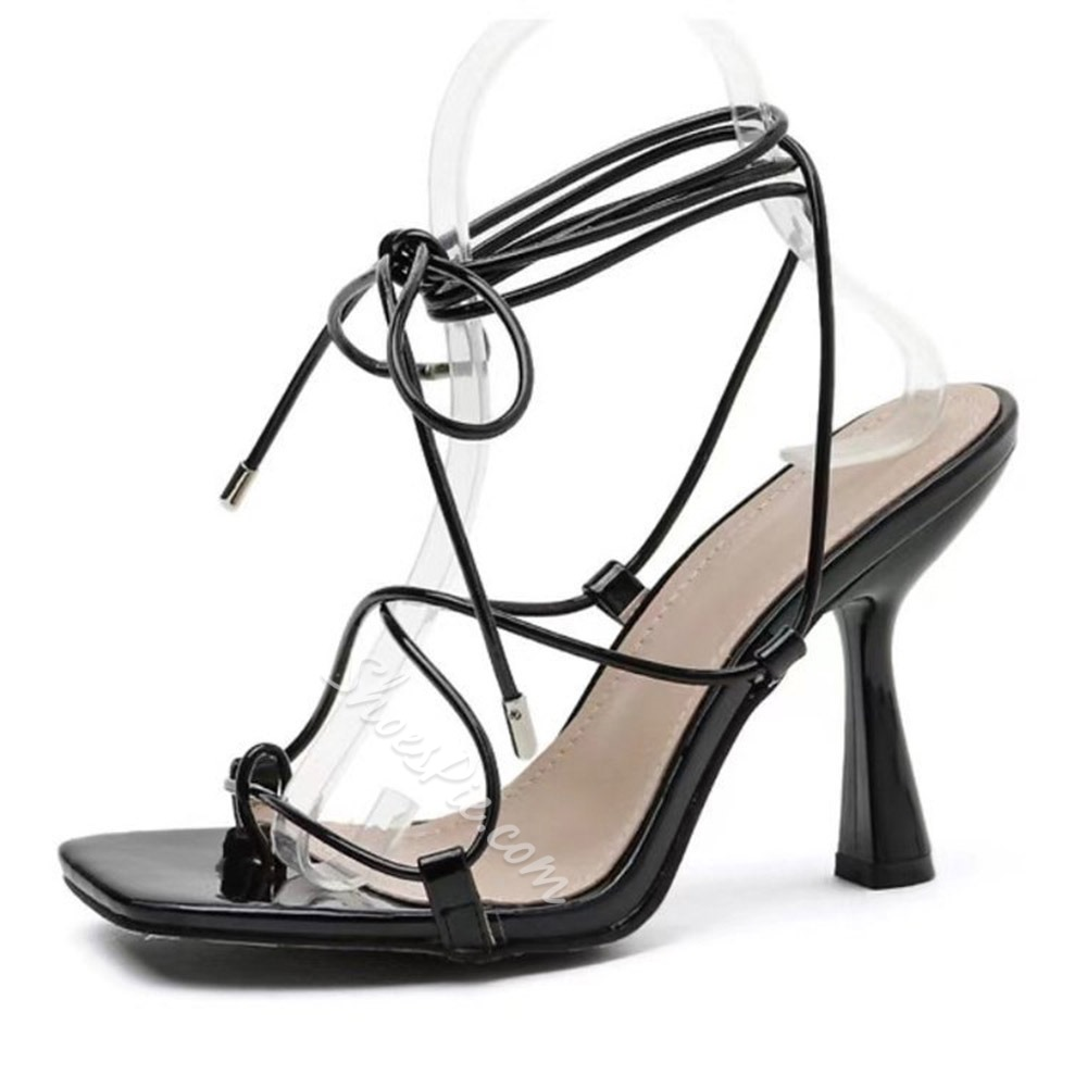 Shoespie Trendy Thong Lace-Up Stiletto Heel Lace-Up Sandals
