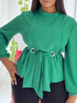 Stand Collar Plain Lace-Up Long Sleeve Women's Blouse