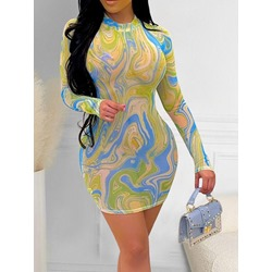 Above Knee Patchwork Stand Collar Pullover Women's Dress