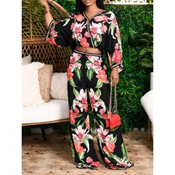Floral Print Casual Wide Legs Women's Two Piece Sets
