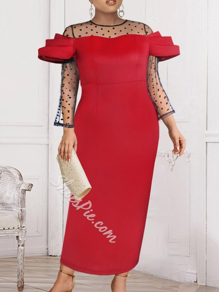Round Neck Nine Points Sleeve Ankle-Length Formal Women's Dress