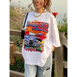 Letter Round Neck Mid-Length Casual Women's T-Shirt