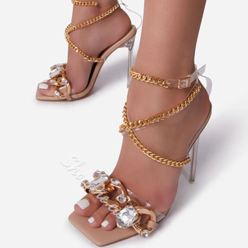 Shoespie Sexy Buckle Square Toe Western Sandals