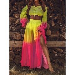 Fashion Skirt Gradient Pullover Women's Two Piece Sets