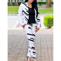 Office Lady Pants Print Straight Women's Two Piece Sets