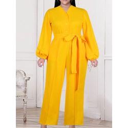 Fashion Full Length Button Straight Women's Jumpsuit