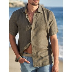 Button Casual Lapel Single-Breasted Slim Shirt