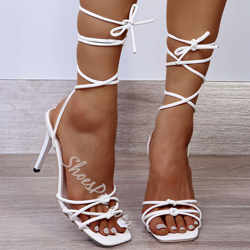 Shoespie Sexy Strappy Square Toe Lace-Up Western Sandals