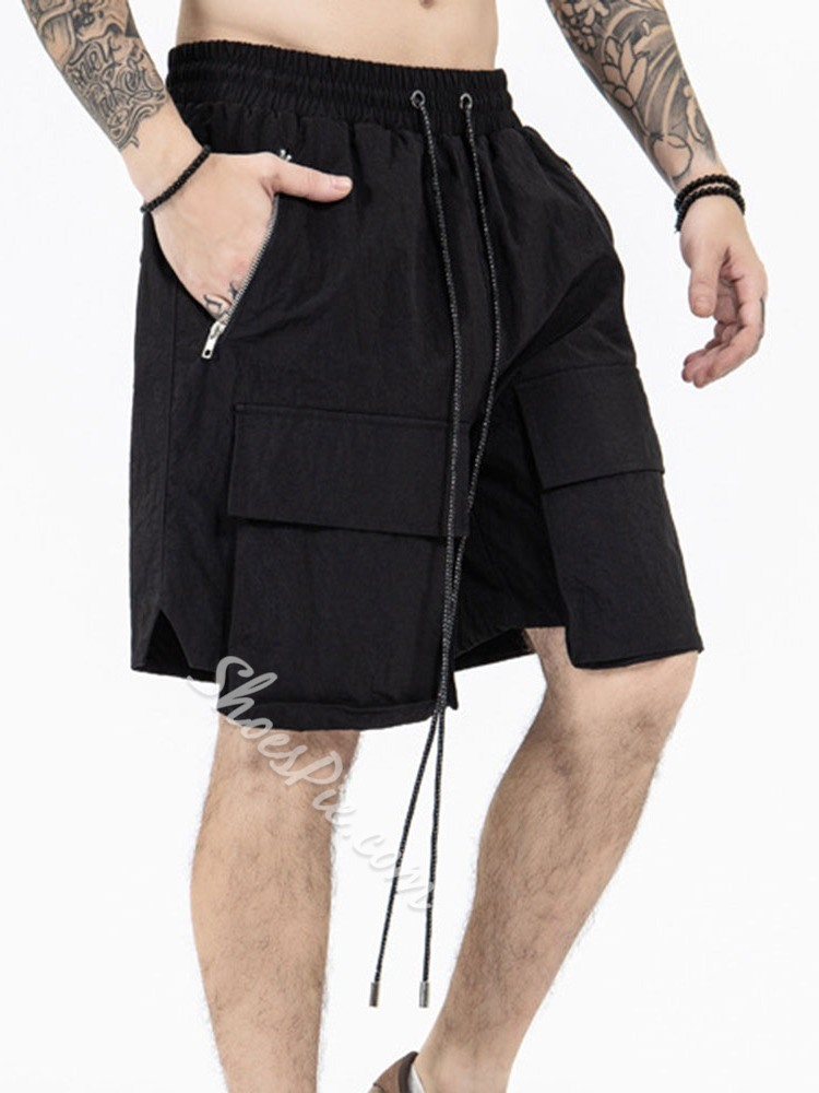 Lace-Up Straight Plain Lace-Up Casual Shorts