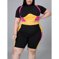 Color Block Sports T-Shirt Straight Women's Two Piece Sets