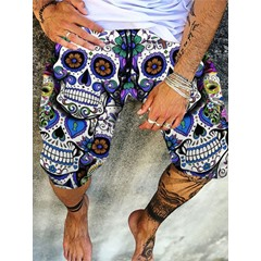 Skull Print Casual Lace-Up Casual Pants