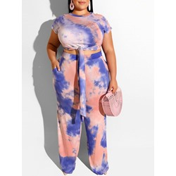 T-Shirt Casual Straight Women's Two Piece Sets