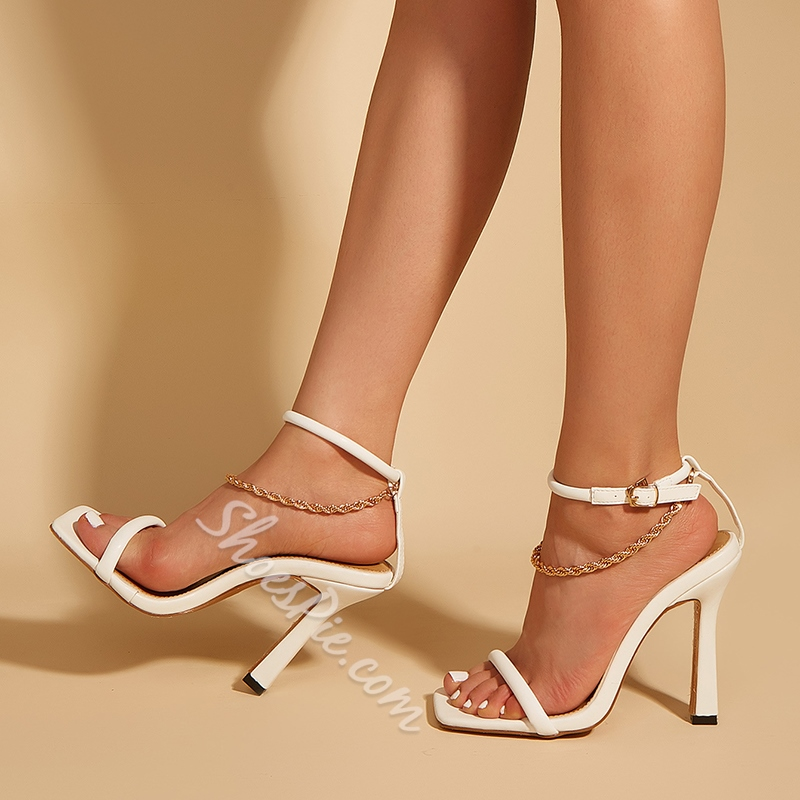 Shoespie Stylish Buckle Square Toe Chain Sandals