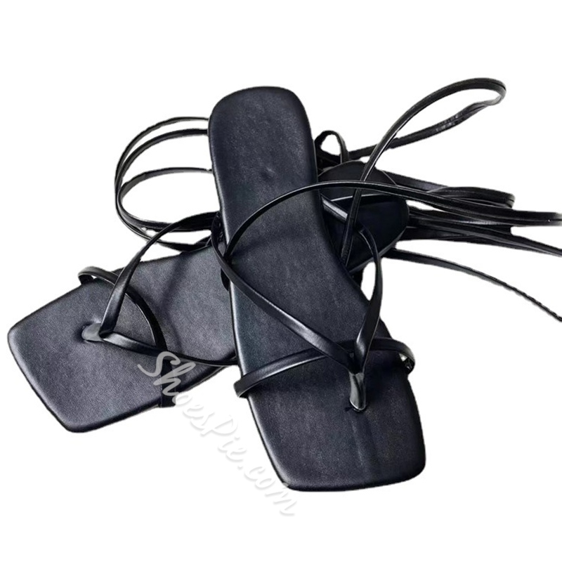 Shoespie Stylish Lace-Up Heel Covering Thong Casual Sandals