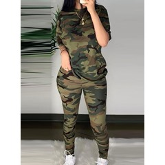 Patchwork Camouflage Pants Pullover Women's Two Piece Sets