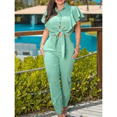 Pants Pocket Casual Single-Breasted Women's Two Piece Sets