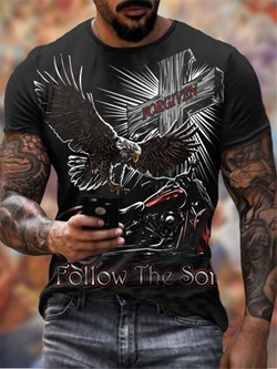 Round Neck Casual Print Pullover Short Sleeve T-shirt