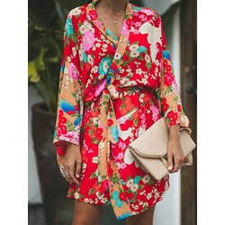 Lace-Up Flare Sleeve Floral Long Sleeve Women's Blouse
