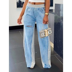 Pocket Straight Color Block Loose Women's Jeans