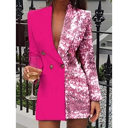 Long Sleeve Color Block Double-Breasted Regular Women's Casual Blazer