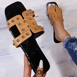 Shoespie Stylish Rivet Flat With Slip-On Western Slippers