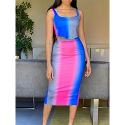 Gradient Skirt Bodycon Women's Two Piece Sets